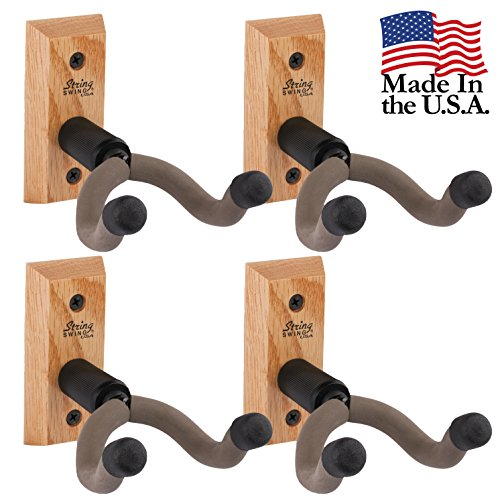 4 X String Swing CC01KOAK Hardwood Home & Studio Guitar Hanger