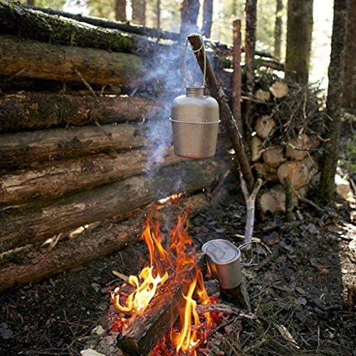ZLJ Ensemble de 5 Vaisselle de Camping en Acier Inoxydable avec Tasse à Eau pour la randonnée en Camping en Plein air