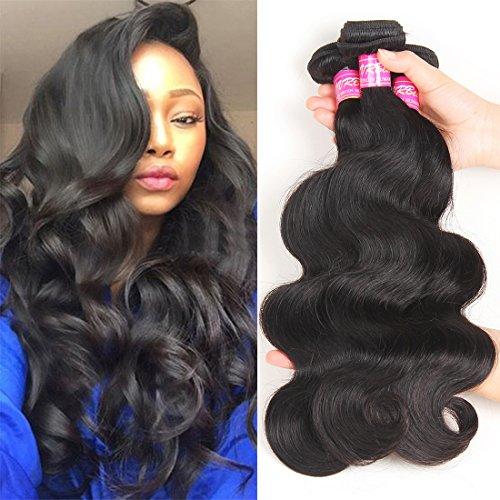 VRBest Hair Brazilian Virgin Hair Body Wave Human Hair 3 Bundles 300g 8A 100% Unprocessed Brazilian Virgin Hair Weave Natural Black Color Brazilian Body Wave Hair Bundles (22 24 26)
