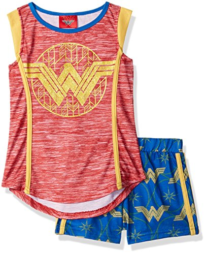 DC Comics Big Girl's Wonder Woman Glitter Crest Pajama Short Set, Blue, -