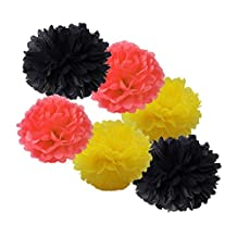 HEARTFEEL 12pcs 10 inch 8inch Mixed Sizes Tissue Paper Pom-poms Black Coral Yellow Outdoor Decoration Tissue Paper Pom Poms Party Balls Wedding Christmas Xmas Decoration (Black Coral Yellow)