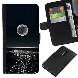 iBinBang / Flip Funda de Cuero Case Cover - Moon Night Glitter Ocean Water - LG G2 D800 D802 D802TA D803 VS980 LS980