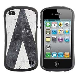 LASTONE PHONE CASE / Suave Silicona Caso Carcasa de Caucho Funda para Apple Iphone 4 / 4S / Road Grey Gray White Minimalist