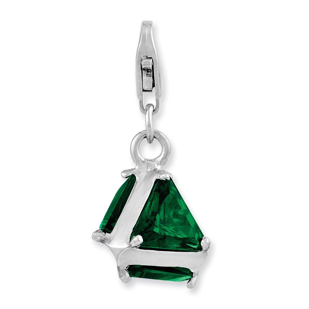 FB Jewels Solid Sterling Silver Rhodium Plated 3-D Green Glass W//Lobster Clasp Charm