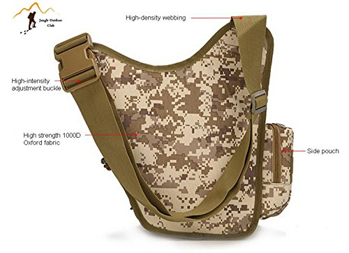 Jungle Oxford piccola borsa da sella, sella borsa a tracolla per fotocamera molle tattico tasche Wild bag hiking climbing Cycling BBQ runner zaino indossabile, kaki