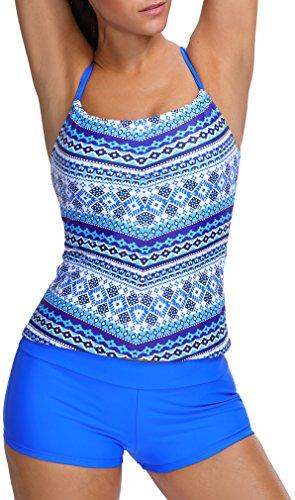 Imilan Women's Banded Printed Tankini Top Boyshort Swimwear Beachwear ((US 12-14)3XL, Blue 1) by Imilan