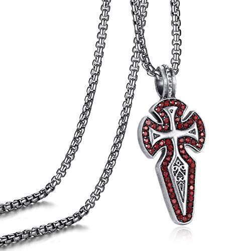 - EVBEA Necklace for Men Viking Celtic Serenity Prayer Pendant with Ruby Crystal Crucifix Mens Jewelry with Black Genuine Leather Cord Chain Curb Link