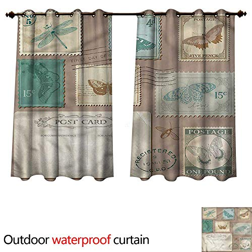 - cobeDecor Vintage 0utdoor Curtains for Patio Waterproof Postcard Stamps Composition W120 x L72(305cm x 183cm)