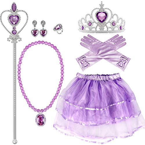 ANNTOY Princess Dress up Sofia Dress Gloves Tiara Wand Necklace Earrings Ring Party Supplies Princess Accessories for Girls by ANNTOY