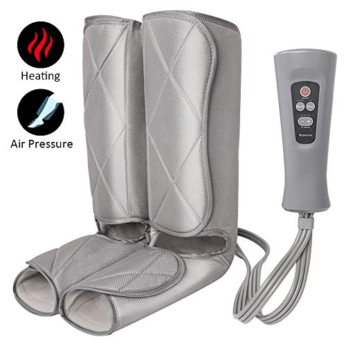 Air Compression Leg Massager for Foot and Calf Massage with Optional Heat 3 Modes 4 Intensities for Feet, Legs, Calves and Muscle Relaxation (Best Cheap Foot Massager)