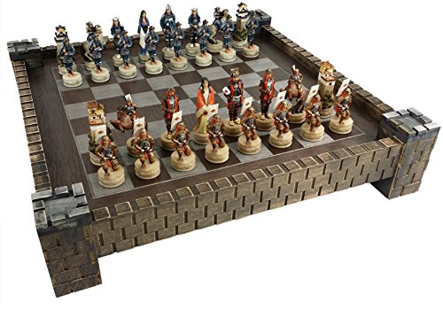 Japanese Samurai Warrior Oriental Chess Set w/ 17