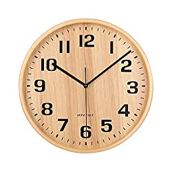 KAMEISHI Wall Clock, 11-Inch Silent Wood Wall Clocks Battery Operated Non-Ticking Quartz Easy to Read Large Numbers Round for Office Bedroom Living Room Kitchen Indoor Decorative KSZ185 Natural color