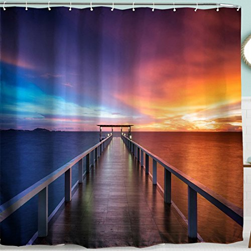 Dock Sunset (BROSHAN Blue Ocean Sunset Shower Curtain, Nautical Seaside House Decor Wooden Dock Bridge Art Printing,Nature Scenery Fabric Bathroom Accessories Set with Hooks,72 x 72 inch, Blue, Orange,Brown)