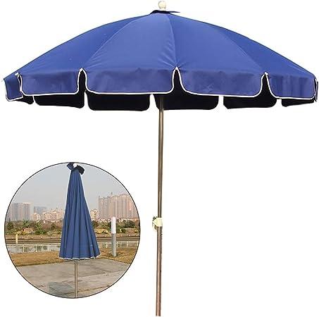 ZAQI Parasol Jardin Sombrillas Terraza Playa Sombrilla Azul Grande de Sombrillas, Toldo Portátil Resistente a la Decoloración a Prueba de Agua con 12 Costillas y Altura Ajustable (Size : 2.4m): Amazon.es: Hogar