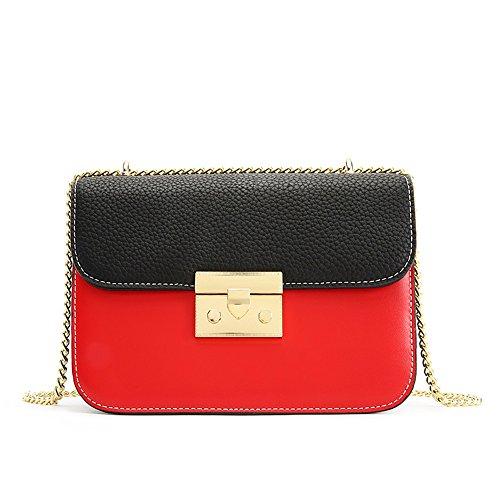 Simple Boucle rétro Hit Couleur Zip épaule Sangle carrée Sac à bandoulière PU Messenger Bag, Rouge Loisirs