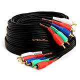 Component Video Audio Cable 5-RCA Gold HDTV RGB YPbPr -25 FT