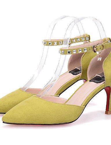 LFNLYX Chaussures Femme-Habillé-Noir / Jaune / Rose / Gris-Talon Aiguille-Talons / Bout Pointu / Bout Fermé-Sandales-Daim , black , us6 / eu36 / uk4 / cn36