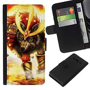 KLONGSHOP // Tirón de la caja Cartera de cuero con ranuras para tarjetas - Lobo Soldado - Samsung Galaxy A3 //