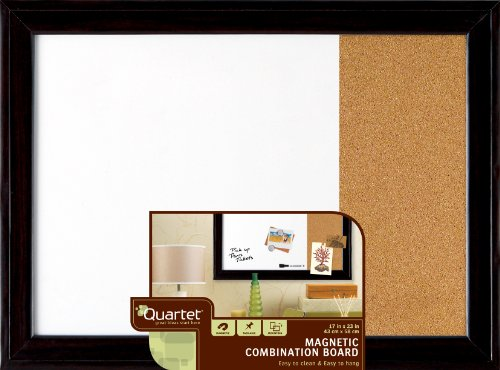 "Quartet Magnetic Dry Erase Board Cork Board, 17 x 23"", White"