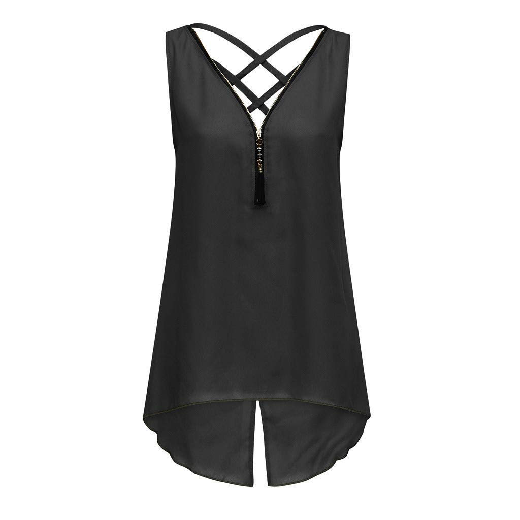 Women Blouse,Women Loose Sleeveless Cross Tank Top Irregular Hem Zipper V-Neck Vest (Black, M)