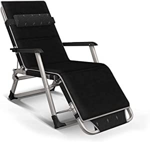 Wyxy Folding Sun Lounger Chair Garden Furniture,Camping Garden Deck Chairs Zero Gravity Recliner Reclining Waterproof Chaise Loungers Metal for Outdoor Office (Color : Black)