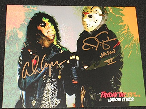 Cooper Signed Photo - ALICE COOPER & CJ GRAHAM Dual Signed Man Behind the Mask 8X10 Photo Friday The 13th A