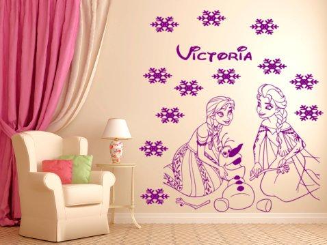 Frozen Zeichen Anna, Princes Elsa und Olaf zusammen spielen,  personalisierbar Mädchen Schlafzimmer Wandtattoo FR4 Frozen Princess Anna,  Elsa, Olaf mit ...