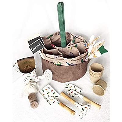 Complete Garden Set for Kids Equipped with Garden Tote Gloves Seed Packets Peat Soil Pellets Pots Watering Tin Chalk Tags and Pen (Fruit & Veggie): Toys & Games
