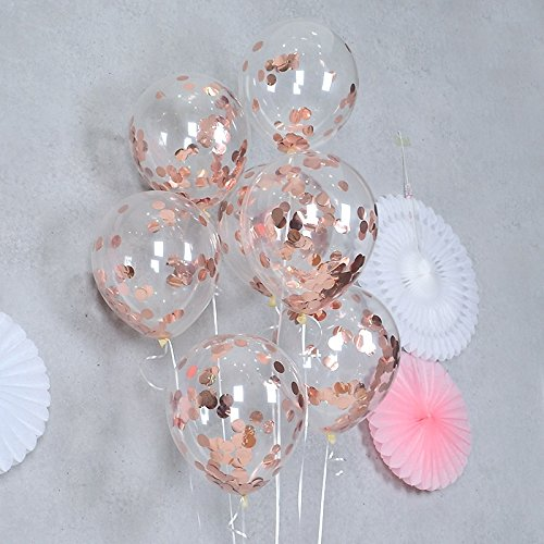 FindFun 12'' Rose Gold Confetti Balloons for Party Decoration,Engagement,Weddings Birthdays Showers Party (Pack of 12)