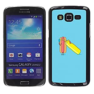 TopCaseStore / la caja del caucho duro de la cubierta de protección de la piel - Minimalist Hot Dog Poster - Samsung Galaxy Grand 2 SM-G7102 SM-G7105