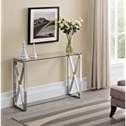 Contemporary Chrome Finish / Glass Top Console Sofa Table with Square Designs
