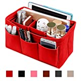 Felt Purse Insert Organizer, Handbag organizer, Bag in Bag for Handbag Purse Tote, Diaper Bag Organizer, Stand on Its Own, 12 Compartments, 3 Sizes (Medium, Red)