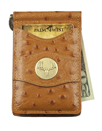 Leather Chair Denver (Palm West Leather Minimalist Leather Money Clip Wallet with RFID with Medallion (Natural Ostrich, Mule Deer Horns))