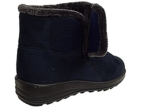 Ladies Cushion Walk Faux Suede Warm Faux Fur Lined Casual Comfort Ankle Boot Shoe Size 3-8 Navy-V honLR