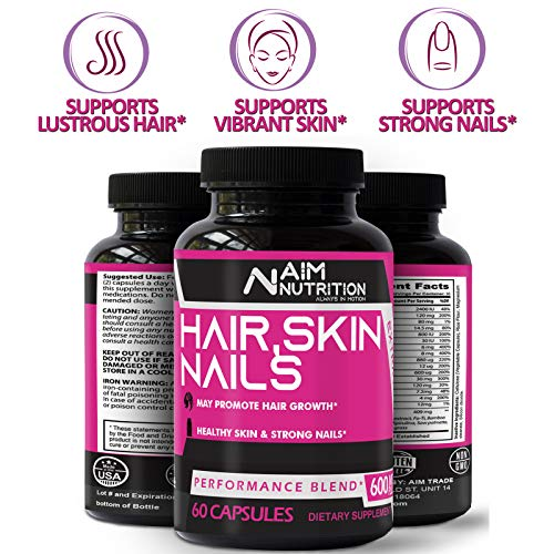 Hair Skin & Nails Supplement - Biotin Capsules Enriched with Vitamins, Calcium & Iron for Better Hair Growth, Glowing Skin & Stronger Nails (60 Capsules)
