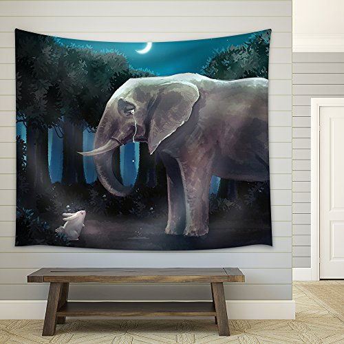Illustration Cartoon Illustration of White Rabbit Bunny is Talking with a Sad Elephant in The Forest Night Scene Fabric Wall