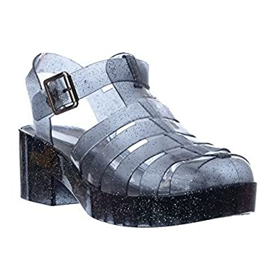 7e006aec4c67 Miss Image UK Ladies Womens New Chunky Block Heel Gladiator Platform Jelly  Sandals Shoes Size  Black Smoke Glitter Size 6   Amazon.co.uk  Shoes   Bags