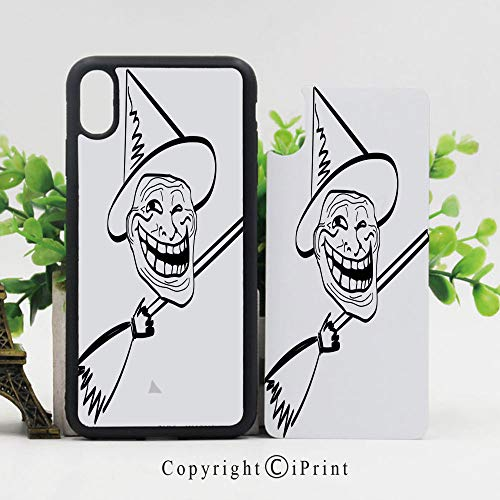 Case for iPhone X,Halloween Spirit Themed Witch Guy Meme LOL Joy Spooky Avatar Artful Image Hard Case with TPU Bumper Protective Case Cover,Black White