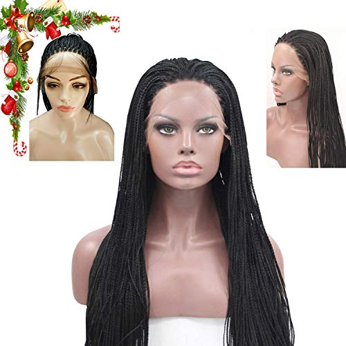 ed Lace Front Wig Fully Hand Tied Synthethic Hair Braided Heat Resistant Hairs Wigs Free Part with Baby Hair for Black Women (Color Black) ()