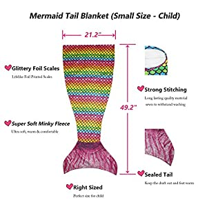 Opall (Upgrade Version) 2018 Latest Cozy Soft Rainbow Mermaid Tail Blanket for Kids, with Scales Apply on All Seasons Pink Small Pink