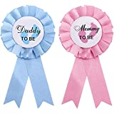 WILLBOND 2 Pieces Daddy and Mommy to Be Tinplate Badge Pin Gender Reveal Button Pins New Daddy Mom Gifts for Baby Shower Party Celebration, Pink and Blue