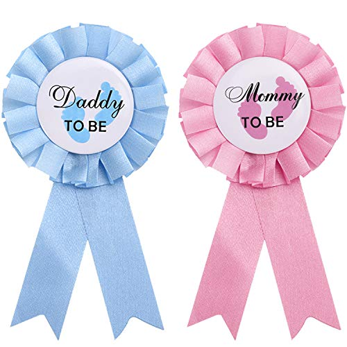 2 Pieces Daddy and Mommy to Be Tinplate Badge Pin Gender Reveal Button Pins New Daddy Mom Gifts for Baby Shower Party Celebration, Pink and Blue