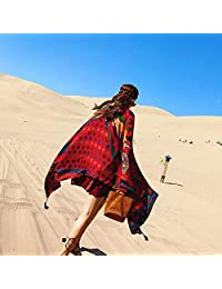WHXYAA Ms. Scarf Seaside Beach Holiday Printing Sunscreen Shawl Empty Autumn Scarf Tune Scarf Female Scarf WHXYAA (Color : Red)