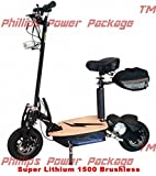 Super Cycles & Scooters - Super Lithium 1500 Brushless - Electric Scooter - 2-Wheel - Black - PHILLIPS POWER PACKAGE TM - TO $500 VALUE