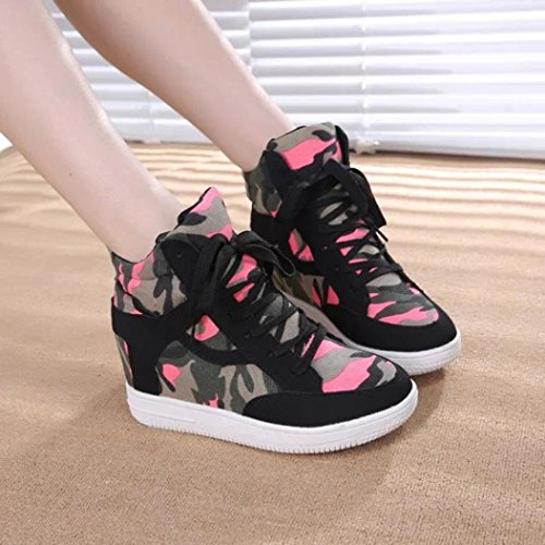 High Canvas Black Ladies Increased Top Casual Inkach Womens Shoes height Shoes Boot Pwt5t8Aqx