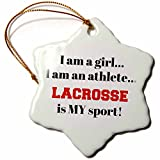 3dRose I Am a Girl, I Am an Athlete, Lacrosse is My Sport, Black Red Letters Snowflake Ornament, 3''