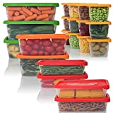 Meal Prep Food Storage Containers with Lids BPA Free Plastic Freezer and Microwave Safe, 42 Piece Set 4 Sizes, Stackable Lunch Containers Set Reusable & Dishwasher Safe