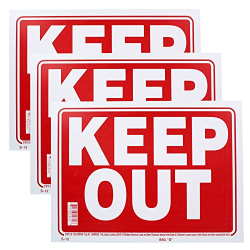 Bazic Small 9 x 12 Inches Keep Out Sign, Pack of 3 (Keep Out Sign)