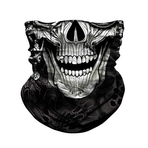 Smiley Horror Movie Mask (Skull Face Sun Mask, Neck Gaiter, Headwear, Headband for Fishing, Hunting,Yard)