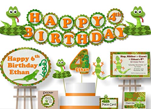 Personalized Reptile Snake Birthday Party Decorations - Banner with Optional Cake Topper, Centerpiece, Welcome Sign, Favor Tags or Stickers, Thank You Cards - Handmade in USA - BCPCustom -